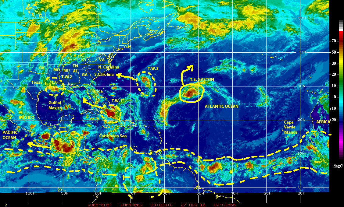 GOES EAST infrared satellite image of 27 August 2016 showing tropical cyclonic and stormy weather activity over the north Atlantic basin