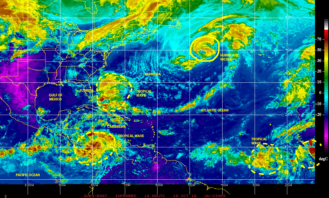 Infrared satellite image of 10 October 2016 showing various tropical waves, areas of disturbed weather, and Hurricane NICOLE over the larger north Atlantic basin